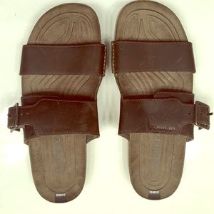 Merrell Brown Leather Slide Buckel Sandal Size 8